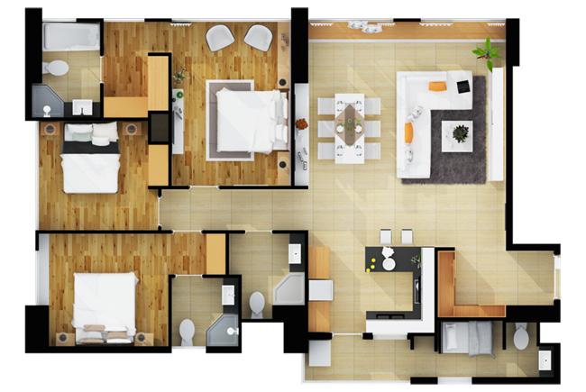 Thiết kế căn hộ The Ascent Lakeside 3 phòng ngủ